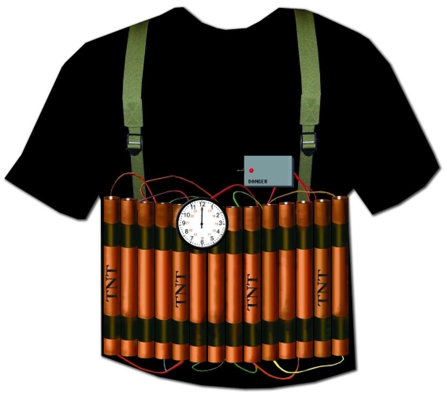 Suicide Bomber:Wearing this suicide bomber t-shirt around the near-sighted could provoke an incident. The shirt also makes light of the carnage caused by suicide bombers. Photo: Photo From Terrortshirt.com.