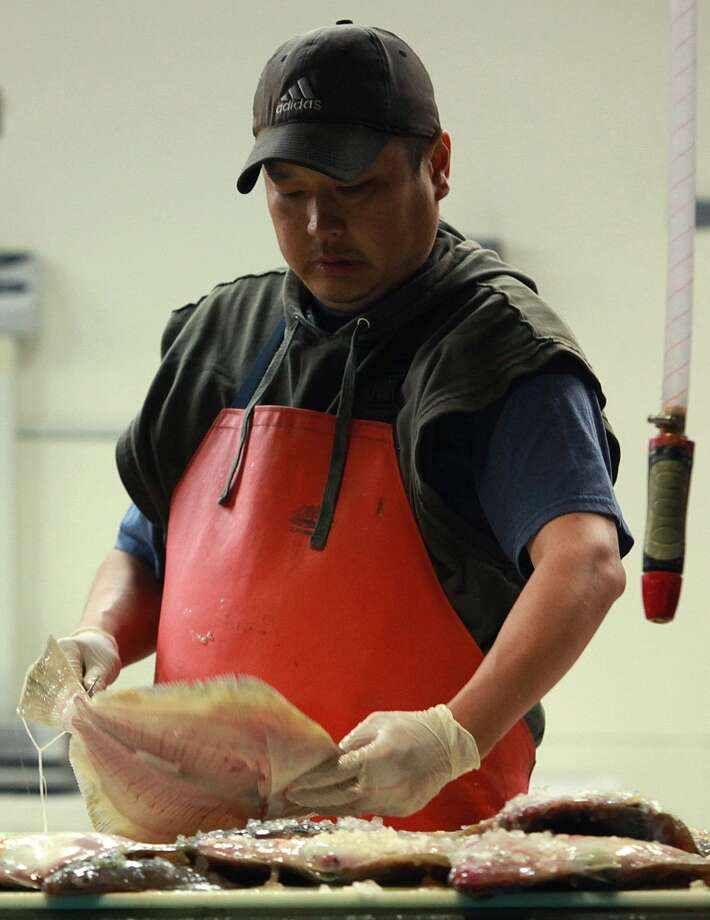 Dave Kovich with local Patrale sole at TwoXSea. Photo: Liz Hafalia, The Chronicle