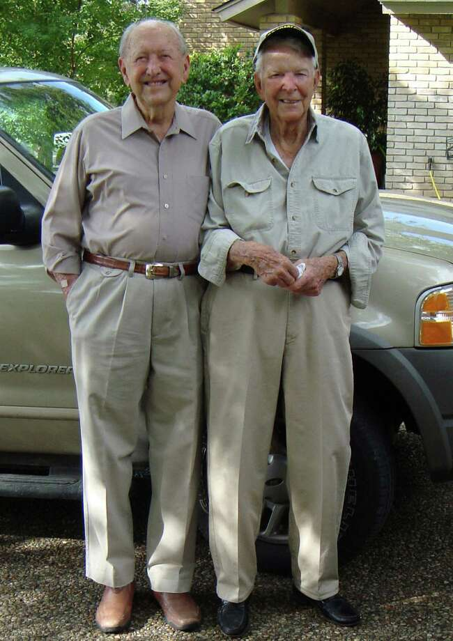 Now:At 90, Kurt Voss, Sr. (left), and Charles Ruble still enjoy eating out and visiting regularly, according to Voss  daughter Lauretta Voss Edwards. The two met in junior high school and have been friends ever since, graduating from Burbank together in 1941 and serving as best man in the other s wedding. Here they re-create a photo taken in 1946. For years he ran Kurt Voss Metals, creating ornamental iron work. (Taken over by his son it s now called Ted Voss Metals.) Ruble retired as a captain in the San Antonio Police Department and is also a retired lawyer. He is currently a commander in the Coast Guard Reserves. Photo: Handout, Voss, Reader Submission