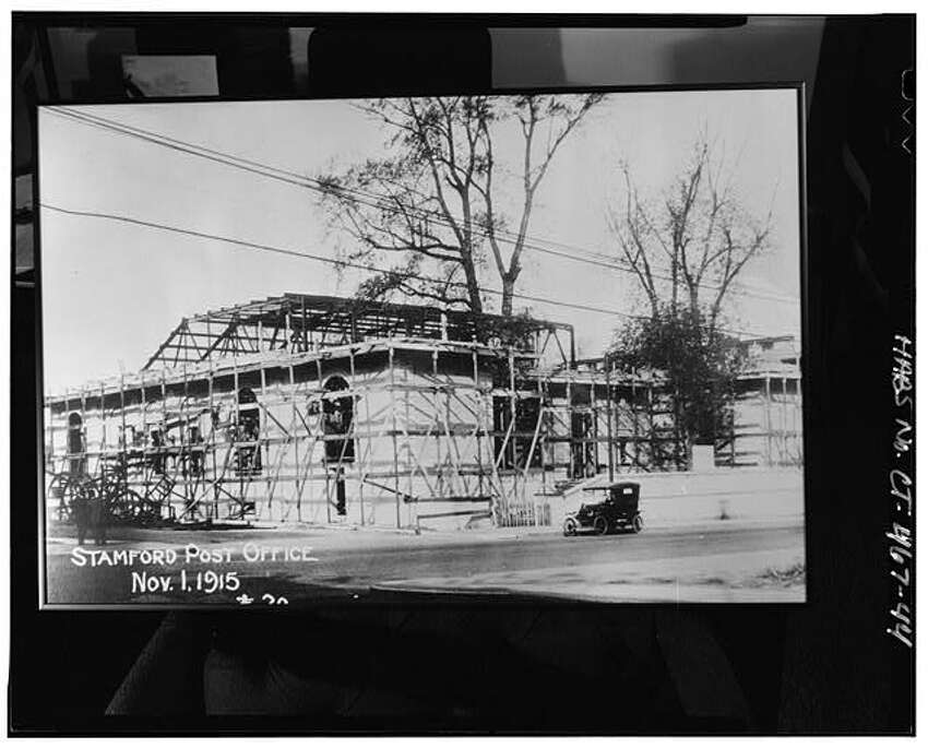 Photocopy of progress photograph #30 dated November 1, 1915, photographer Chas. McCaul Co. View southwest of Stamford Post Office under construction