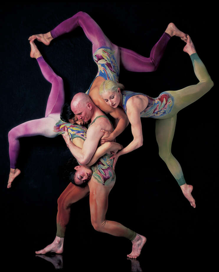 "This photograph of Pilobolus dancers, by John Kane of New Milford, is among the artworks on display at the Cultural Alliance of Western Connecticut's new meet-up space for arts and culture, called @287. Kane's sensuous figure studies are featured in his exhibit, ""Bodies in Motion,"" on view as part of @287's first gallery show. Also on view is ""Alien Circus Project,"" created by Bethel sculptor Jim Felice. The space gets its name from the venue's address, 287 Main St. in Danbury. Photo: Contributed Photo/John Kane, Contributed Photo / The News-Times Contributed"
