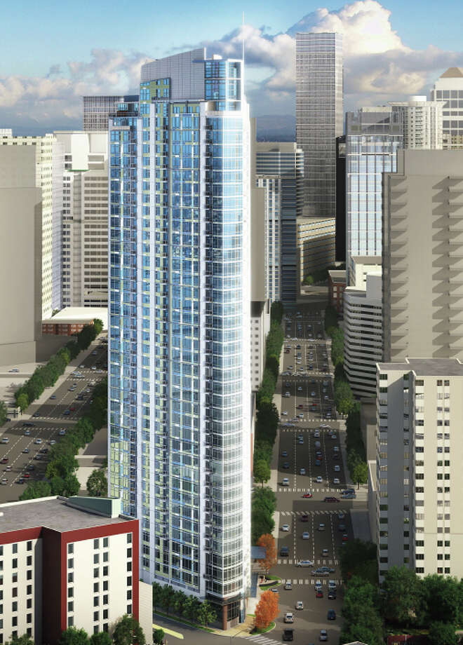 The proposed 39-story 600 Wall St. tower is shown in this artist's rendering. Photo: Laconia Development, Kwan Henmi Architecture Planning
