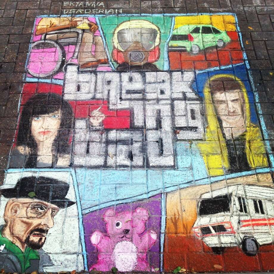 """Breaking Bad'/""Grand Theft Auto"" mash up by unofficial artist Bryanna Derderian for Chalk It Up 2013. Photo: Benjamin Olivo, MySA.com"
