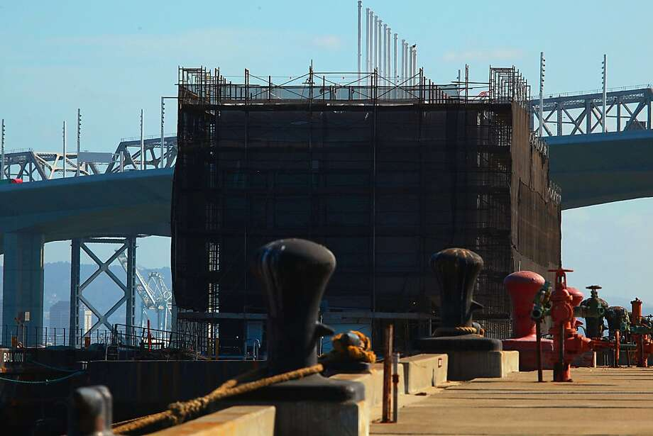 Google is keeping the purpose of this structure floating on a barge in the bay near Treasure Island a secret. Photo: Liz Hafalia, The Chronicle