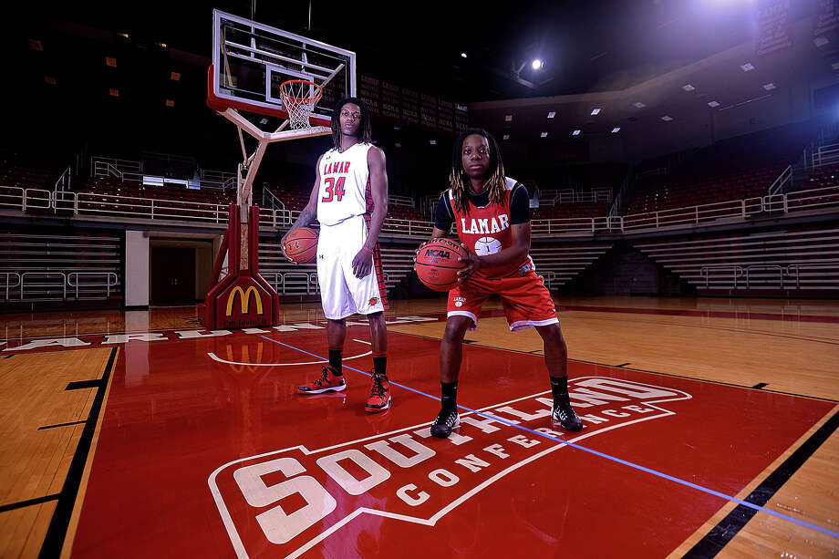 Lamar University Cardinal seniors forward Amos Wilson, left, and guard Gia Ayers, hope to lead their teams to a better season this year in the Southland Conference.  Michael Rivera/The Enterprise