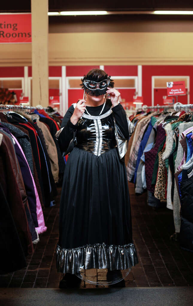 josqueta davis models a french maiden costume at seattles capitol hill value village - Davis Halloween Store