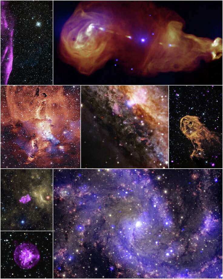Collage: NASA's Chandra X-ray Observatory has released eight never-before-seen images from its archive. The Chandra Data Archive plays a central role in the Chandra mission by enabling the astronomical community.