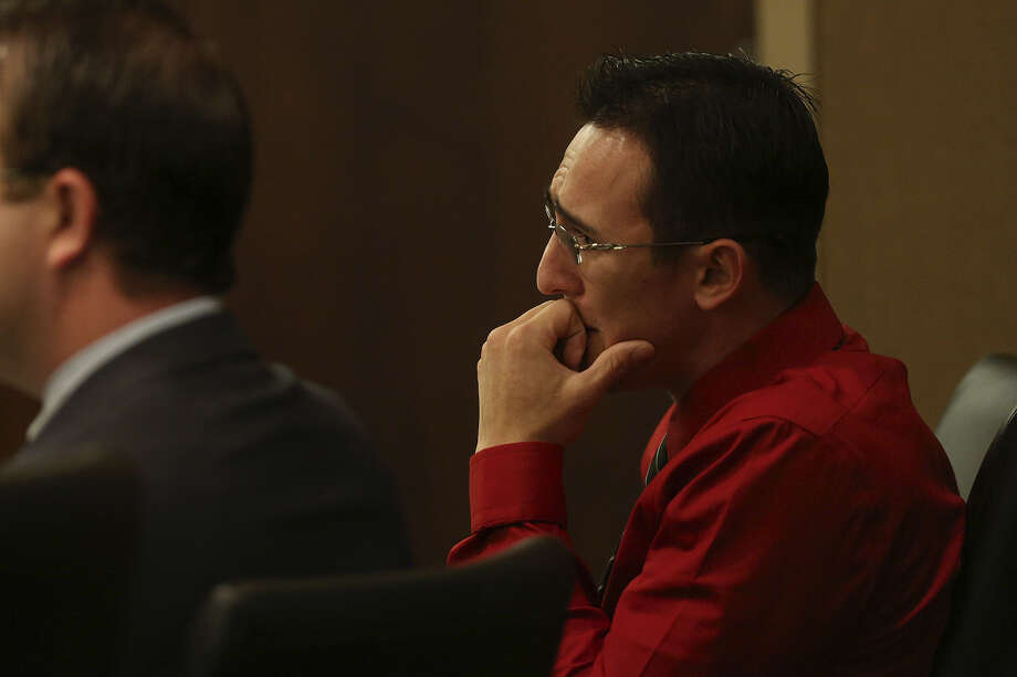 Lee Griego watches as former fiancee Megan Baldonado takes the stand. His lawyers argued he didn't intend to hurt her. Photo: Lisa Krantz / San Antonio Express-News