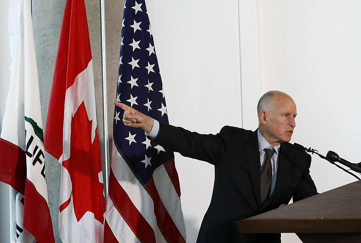 Gov. Jerry Brown speaks at a press conference where he announced a climate change agreement with the governors of Oregon, Washington and the British Columbia Minister of Environment in San Francisco, Calif., on Monday, October 28, 2013.