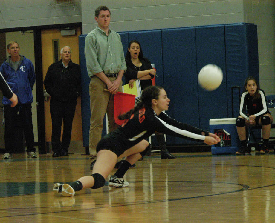 Natalie Carnazza, of Ridgefield, in FCIAC girls volleyball action on Monday, Oct. 28 at Fairfield Ludlowe. The host Falcons beat Ridgefield 3-1 to advance to the semifinals on Wednesday. Photo: Contributed Photo / Fairfield Citizen