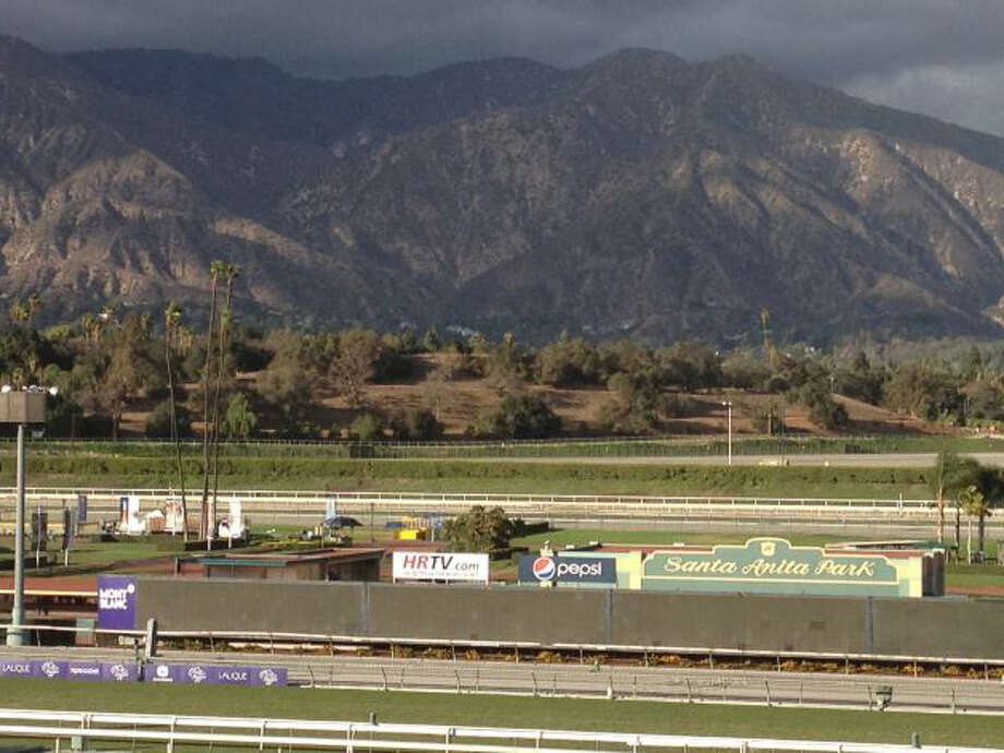 What a glorious setting. Santa Anita in front of the San Gabriel Mountains. Happy Breeders' Cup week. (Tim Wilkin / Times Union)