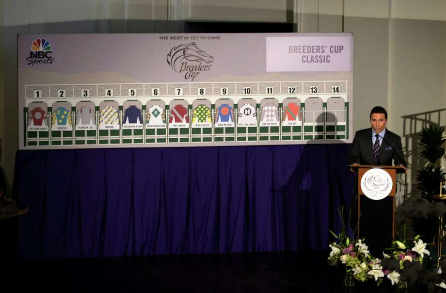 Laffit Pincay III announces the post positions for the $5 million Breeders' Cup Classic during the Post Position Draw held Monday afternoon Oct. 28, 2013 at Santa Anita Park in Arcadia, California. Game on Dude trained by Bob Baffert is the morning line favorite.   (Skip Dickstein/Times Union Photo: SKIP DICKSTEIN
