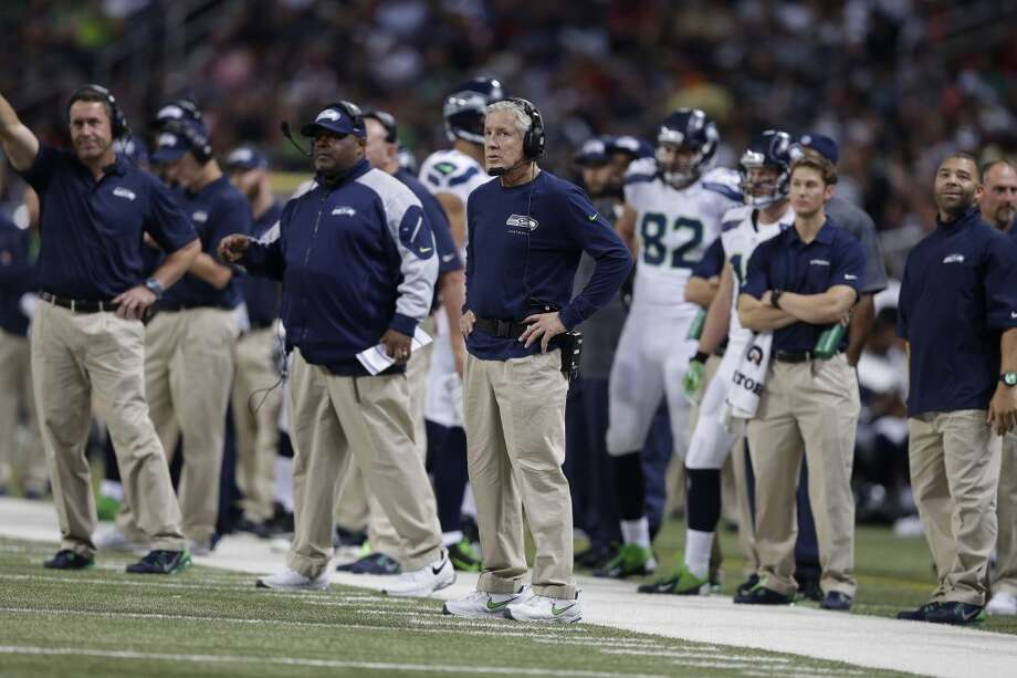 Seattle Seahawks head coach Pete Carroll watches his team from the sideline during the first half of an NFL football game against the St. Louis Rams, Monday, Oct. 28, 2013, in St. Louis. (AP Photo/Michael Conroy) Photo: AP