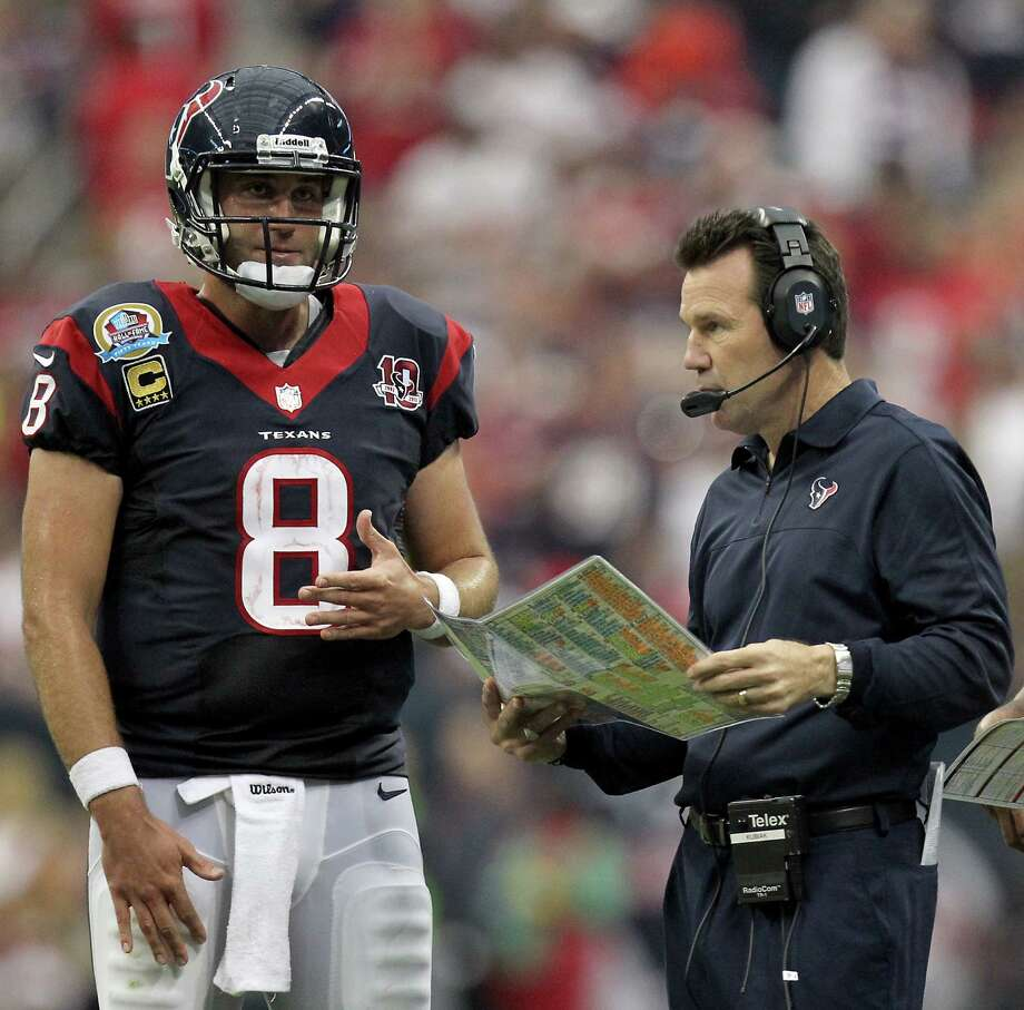 Texans quarterback Matt Schaub knows it's Gary Kubiak's prerogative to change starting QBs, but Schaub is unhappy with the decision to start Case Keenum. Photo: Nick De La Torre, Staff / © 2012  Houston Chronicle