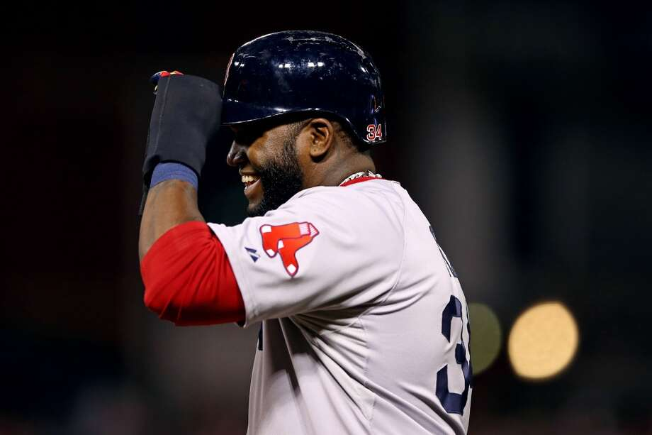 Davod Ortiz of the Red Sox reacts after getting on base against the Cardinals during Game 5. Photo: Elsa, Getty Images