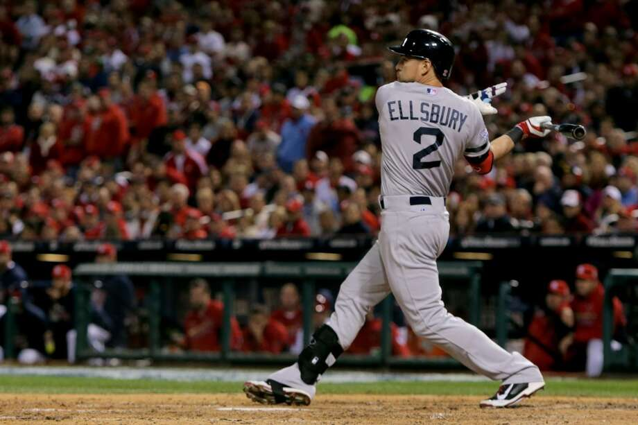 Jacoby Ellsbury of the Red Sox swings against the Cardinals during Game 5. Photo: Elsa, Getty Images