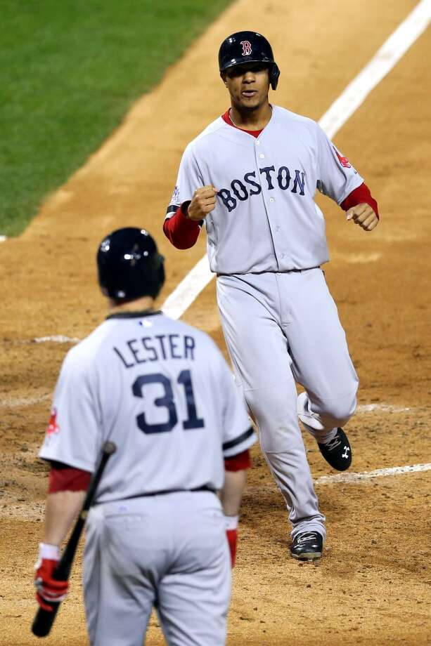 Xander Bogaerts of the Red Sox scores a run against the Cardinals during Game 5. Photo: Ronald Martinez, Getty Images