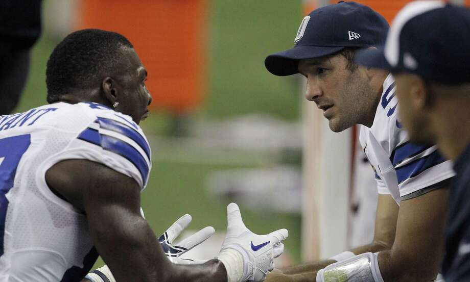 Dallas Cowboys wide receiver Dez Bryant (88) and Dallas Cowboys quarterback Tony Romo (9) talk on the sideline after an argument in the second half of an NFL game against the Detroit Lions at Ford Field in Detroit, Michigan, on Sunday, October 27, 2013. (Brad Loper/Dallas Morning News/MCT) Photo: McClatchy-Tribune News Service / Dallas Morning News