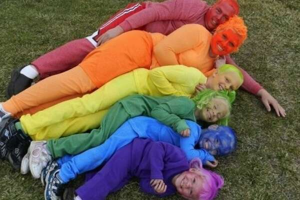 Over the rainbow: They all fought over who got to go as blue