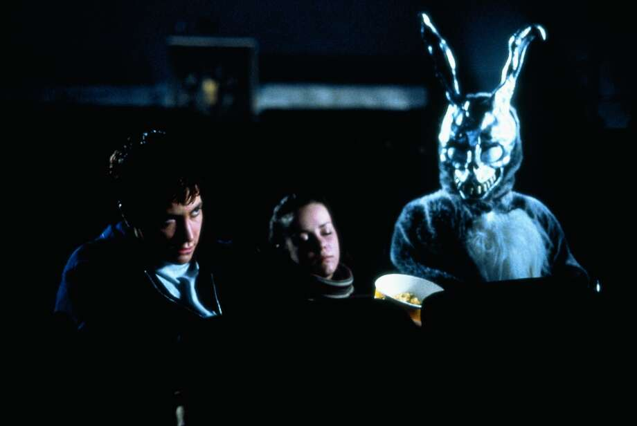 Animal Costumes:  In the warped and confusing world of Donnie Darko (2001), Frank continually pops up wearing a monstrous rabbit costume. When Donnie slowly turns in an empty theater to find Frank sitting next to him and his sleeping date – tell me you didn't steal a glance to the seat next to you, too. Photo: SFC, Legacy