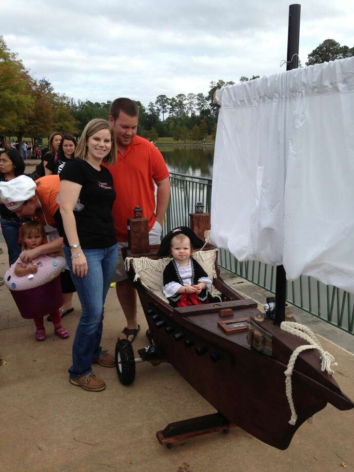 These creative parents made a pirate ship for their child. It won one of the costume contests at the Trick or Treat Trail event in The Woodlands. Photo: The Woodlands CVB
