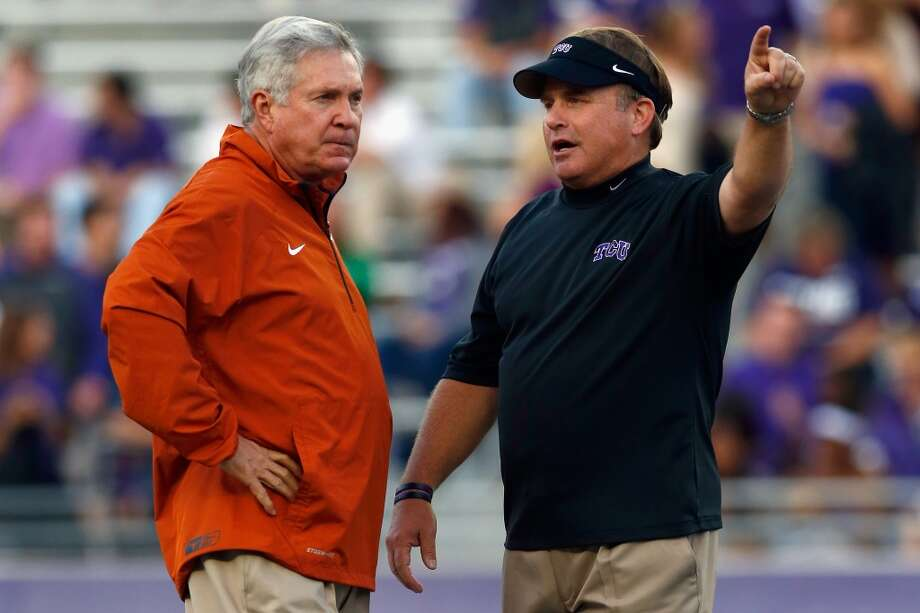 Mack Brown talks with Gary Patterson before the game. Photo: Tom Pennington, Getty Images