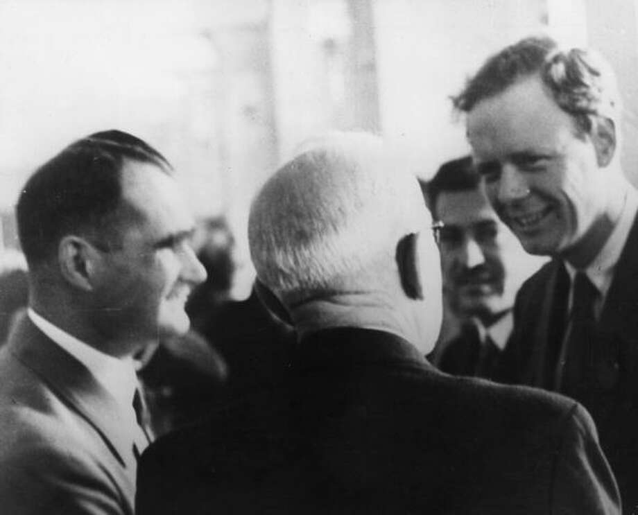 Charles Lindbergh, right, on 14th October 1937, hanging out with Hitler's deputy Rudolf Hess in Munich. Photo: Keystone, Getty Images / Hulton Archive