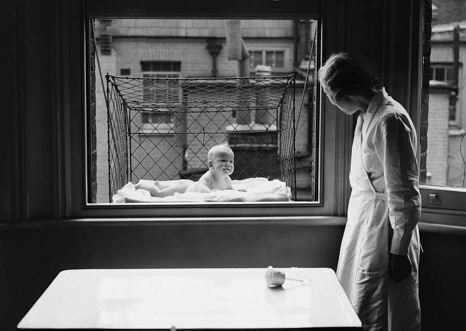Window-hanging baby cage, 1937.This just seems like a really bad idea, there have to be better ways to get vitamin D. Photo: Reg Speller, Getty Images / Hulton Archive