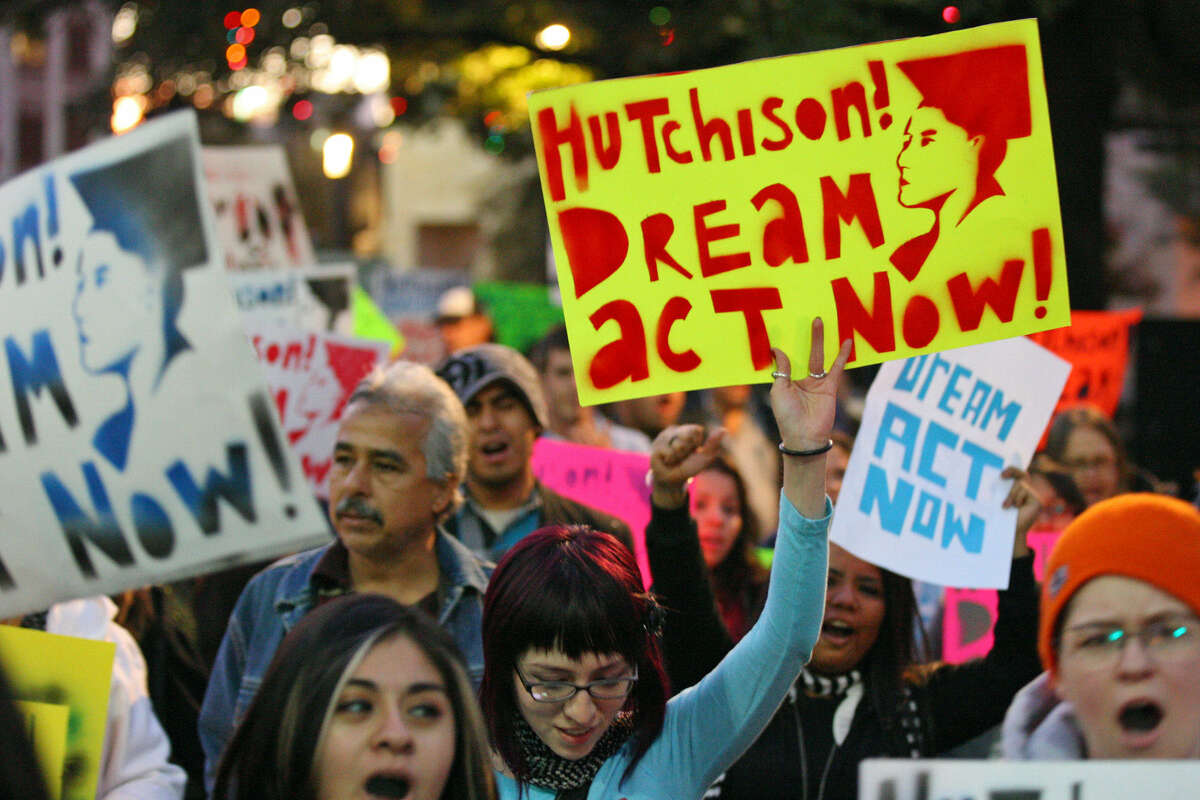 About 150 supporters of the federal DREAM Act march from Milam Park to the Alamo Plaza on Dec. 9. 2010.