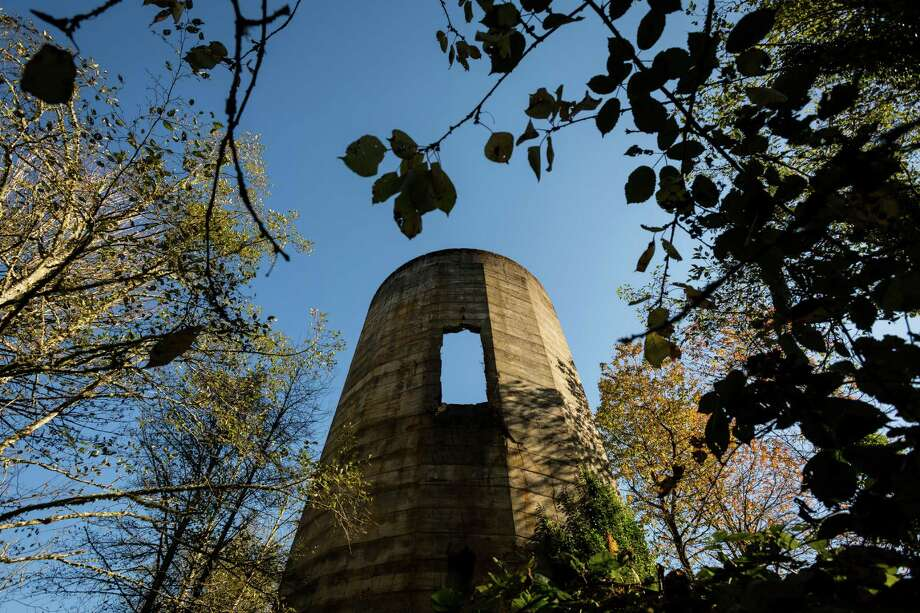 Largely overgrown, the old mill's decaying burn tower serves as an eerie monolith in the woods Monday, Oct. 28, 2013, in Selleck. Photo: JORDAN STEAD, SEATTLEPI.COM / SEATTLEPI.COM