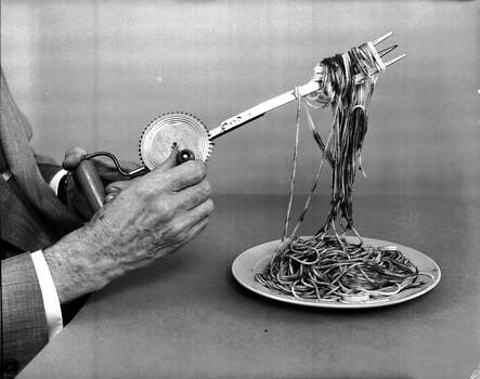 On April 1st, 1957, the BBC broadcast a report about a family in Switzerland who were harvesting their crop of spaghetti. The report was on the Panorama broadcast and showed a woman plucking individual strands of spaghetti from trees. This hoax was responsible for hundreds of phone calls to the BBC from people asking about the story and wanting to grow their own spaghetti crops. This hoax was one of the first times television was used in an April fools' day joke. Photo: Evans, Getty Images / Hulton Archive