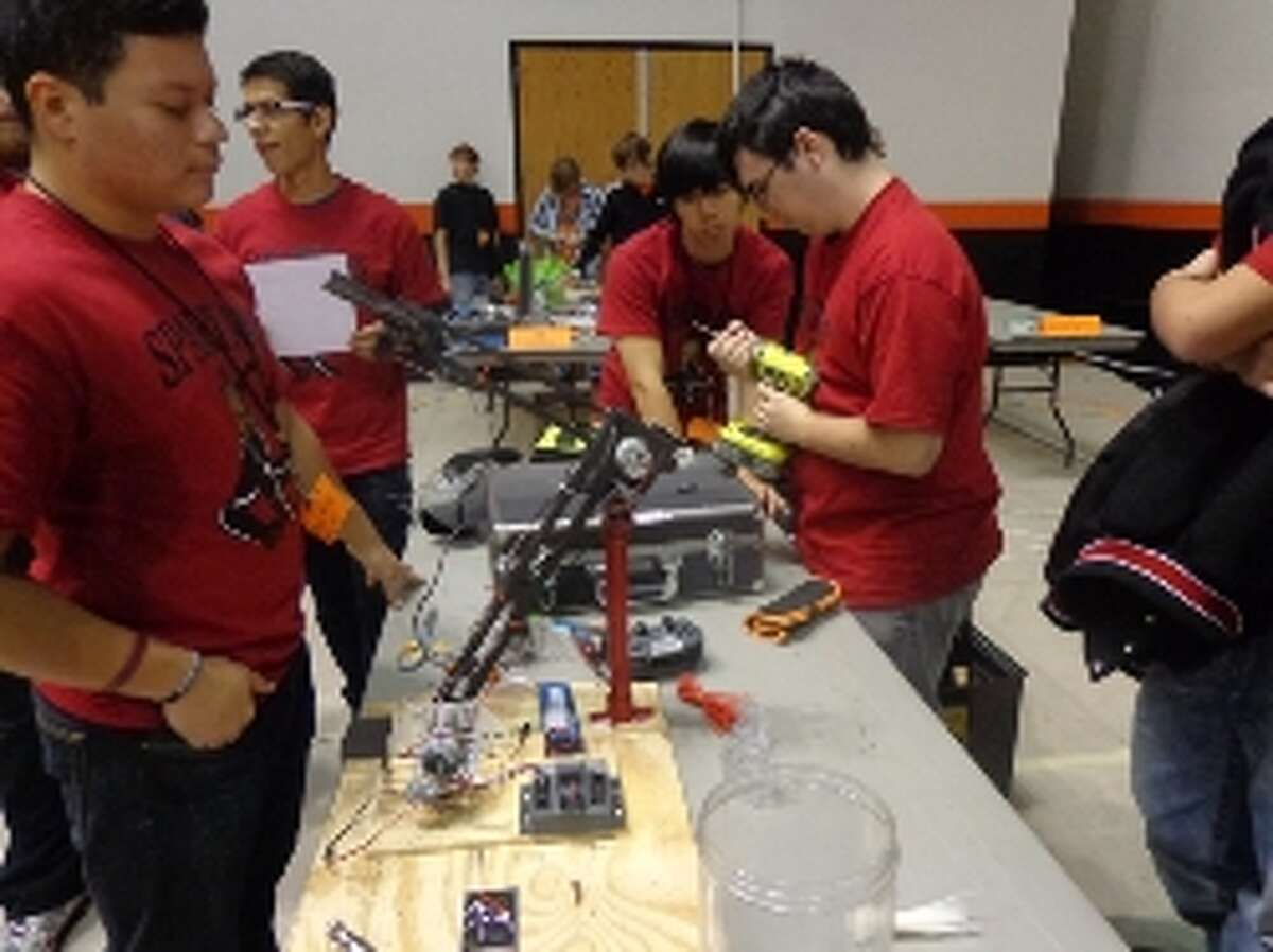 The Porter High team at the robotics competition.