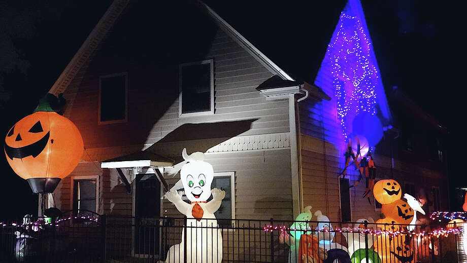 This house off Kings Highway, across from Westy's storage center, glows brightly with the Halloween spirit. Photo: Mike Lauterborn / Fairfield Citizen contributed