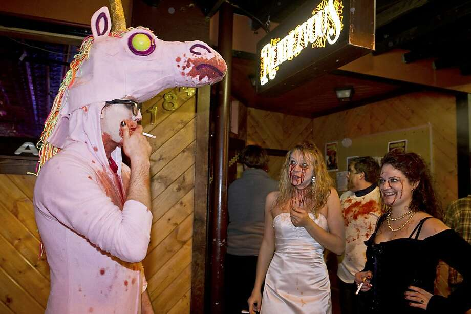 Stumped for a Halloween costume?You could always go as a chain-smoking zombie unicorn with a tracheostomy, like  