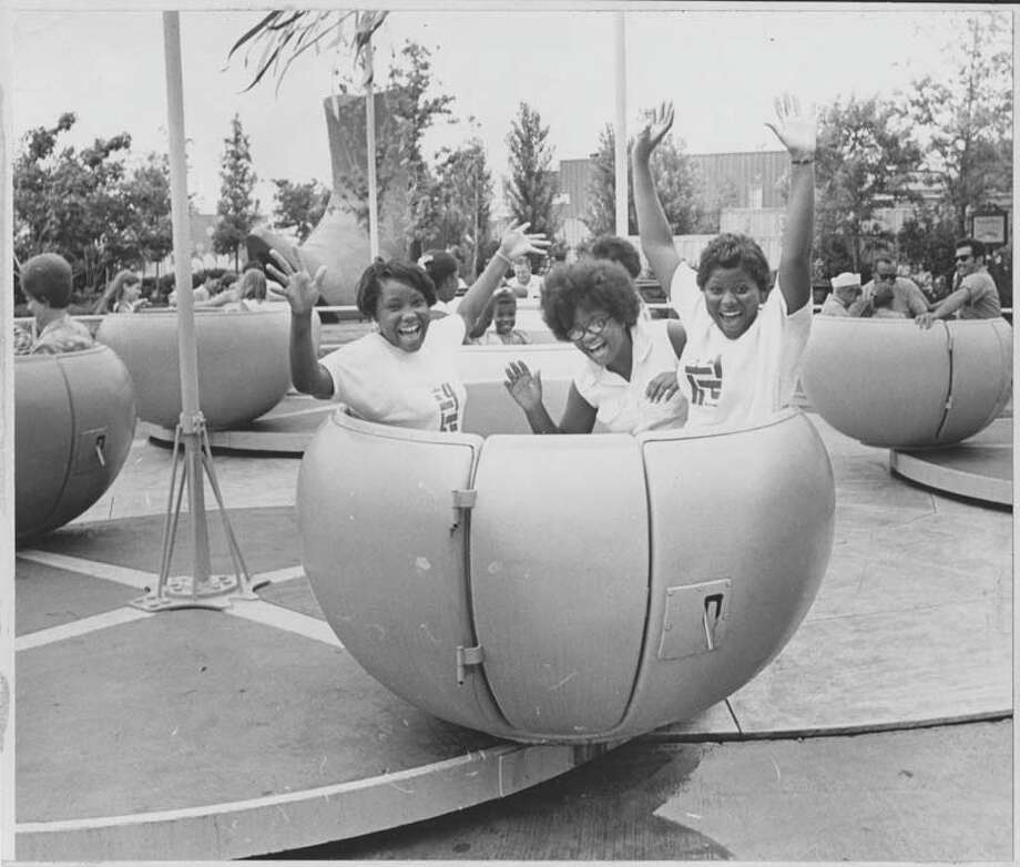 On July 22, 1970, these teenagers enjoyed a ride on AstroWorld's cup and saucer ride. Photo: Houston Chronicle