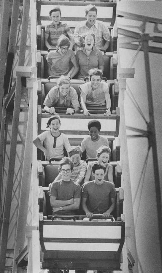Participants in the picture enjoy a ride on AstroWorld's Dexter Freebish Electric Roller Ride on July 1, 1972. Photo: Darrell Davidson, Houston Chronicle