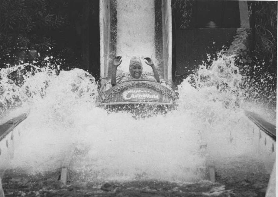 Satara Ellisor gets a thrill from the big splash at the end of the Bamboo Shoot on Nov. 13, 1980. Photo: Houston Chronicle