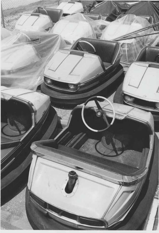 Pictured are AstroWorld's bumper cars prepared for use on June 8, 1975. Photo: David Nance, Houston Chronicle