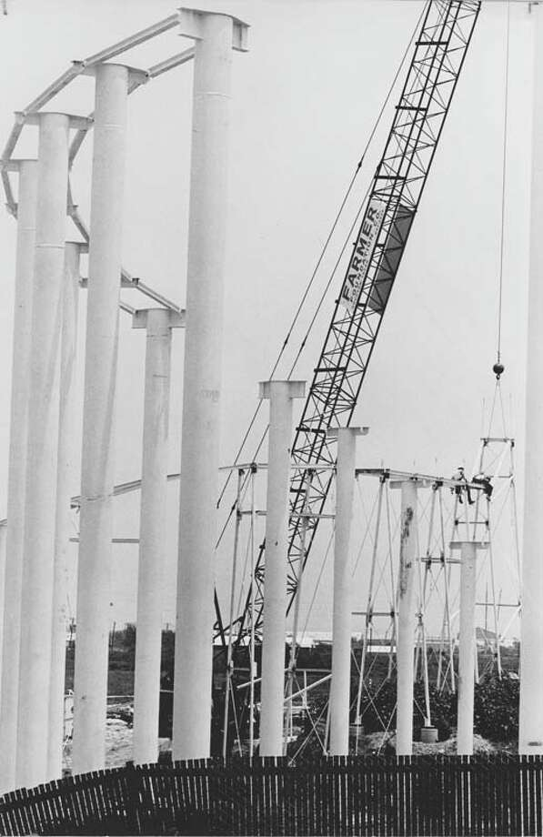 The Dexter Freebish Electric Coaster Ride is pictured under construction on May 24, 1972. It cost $800,000 to build the ride, which was 2,900 feet long and 80 feet high at its highest point. Photo: David Nance, Houston Chronicle