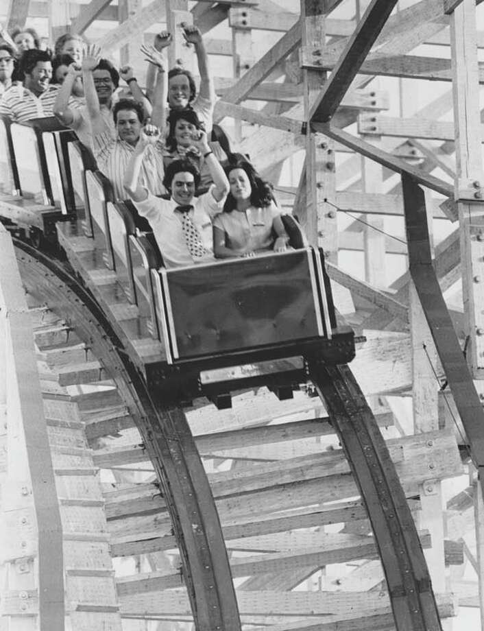 Guests ride the Texas Cyclone in June 1976. Photo: Blair Pittman, Houston Chronicle