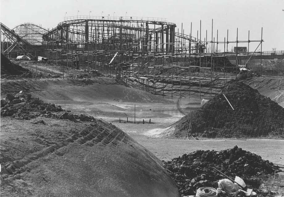 The ride Thunder River is pictured under construction in 1980. Photo: Houston Chronicle