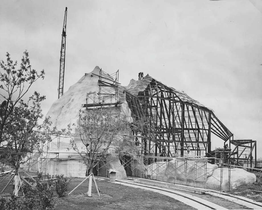 Pictured under construction in May 1968, the Alpine Sleigh roller coaster carried guests into chilly, dark tunnels and featured a surprise abominable snowman that jumped out at the end. Photo: Houston Chronicle