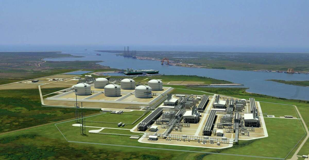 A rendering shows the natural gas liquefaction and export complex Cheniere Energy Partners is adding to its existing import terminal near Sabine Pass in Cameron County, La. Construction has begun on two of the four liquefaction trains in the foreground on the right, with construction on the two others slated to begin next year. (Cheniere Energy Partners)
