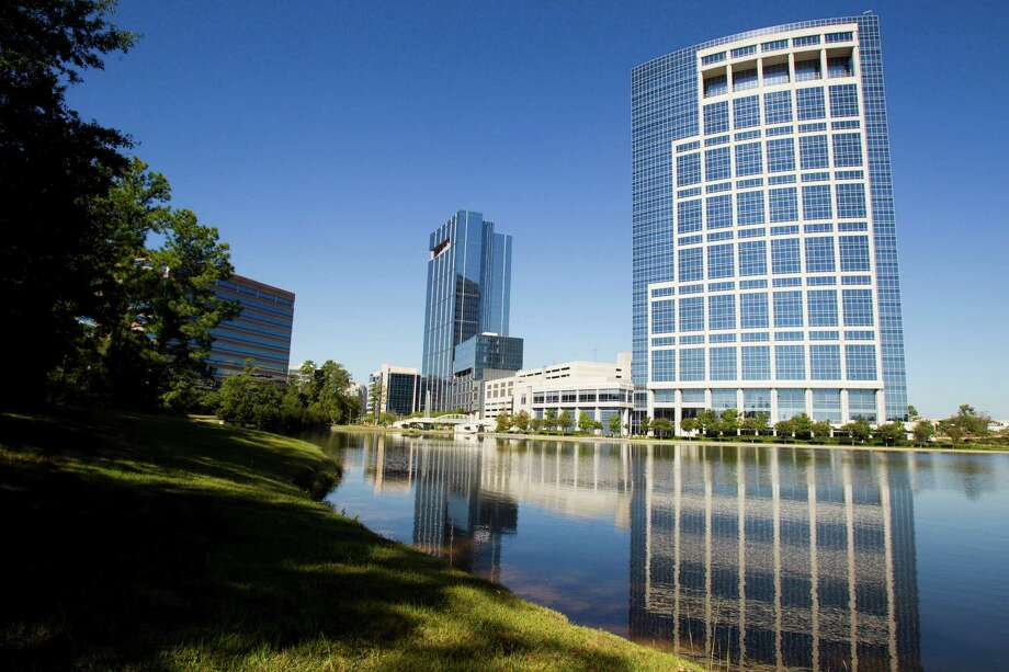 The Anadarko towers are shown Wednesday, Oct. 9, 2013, in Houston. The new Hackett Tower is shown on the left, and the Allison Tower is on the right. ( Brett Coomer / Houston Chronicle ) Photo: Brett Coomer, Staff / © 2013 Houston Chronicle
