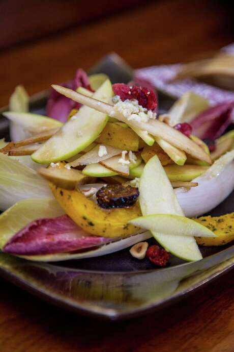"Endive, Squash and Pear Salad with Dried Figs and Hazelnuts from ""Backstreet Kitchen: Seasonal Recipes from Our Neighborhood Cafe"" by Tracy Vaught and Hugo Ortega. Photo: Kenn Stearns, Photographer / Kenneth Roy Stearns"