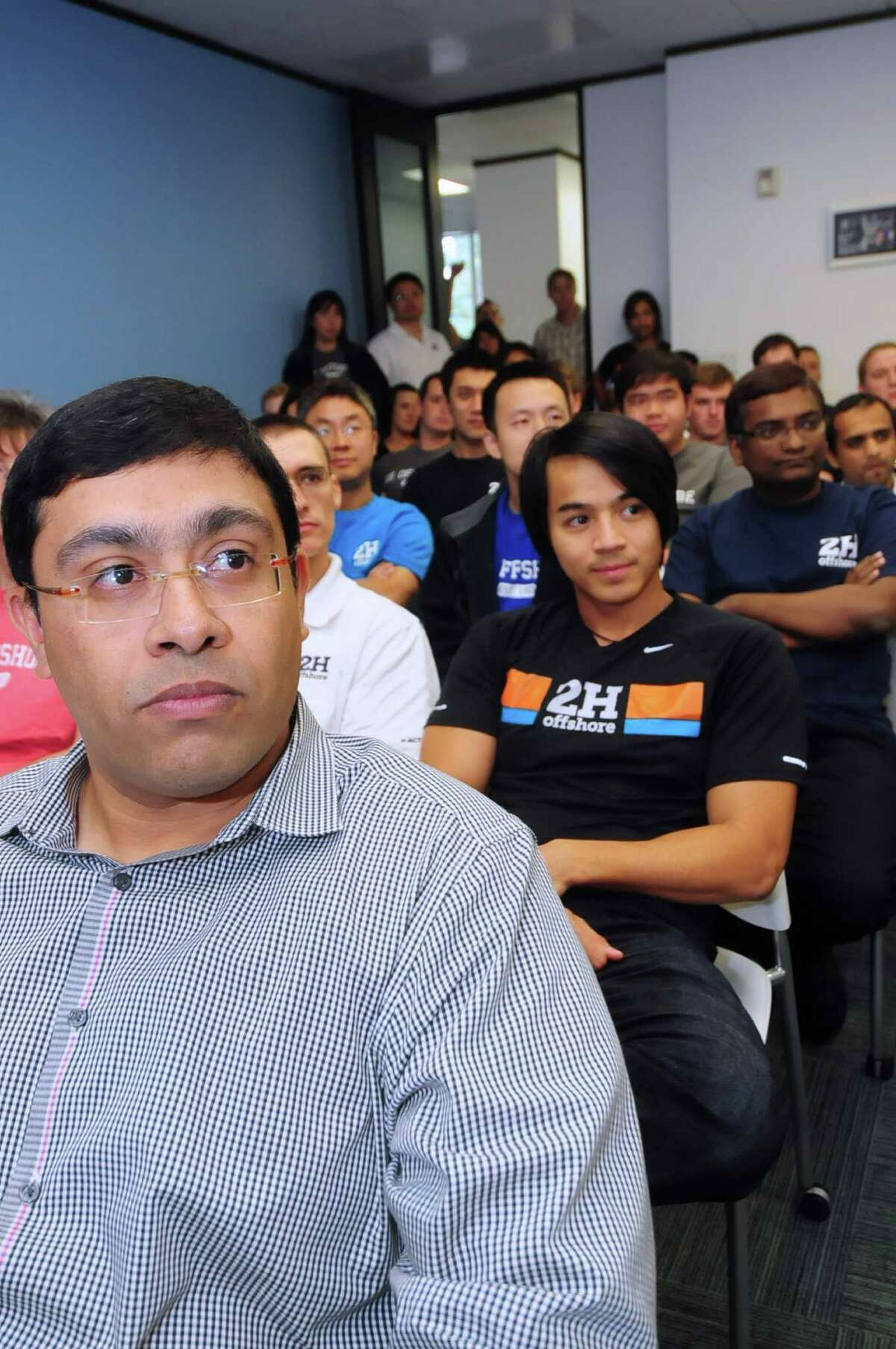 Ricky Thethi sits in on the weekly 2H Offshore training session. Each week there are different presenters, giving employees a chance to hone their skills.
