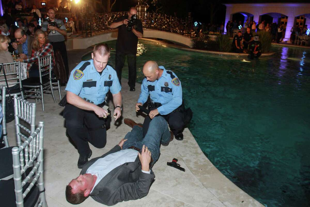 Police conduct a demonstration at the annual True Blue gala benefiting the Houston Police Academy.