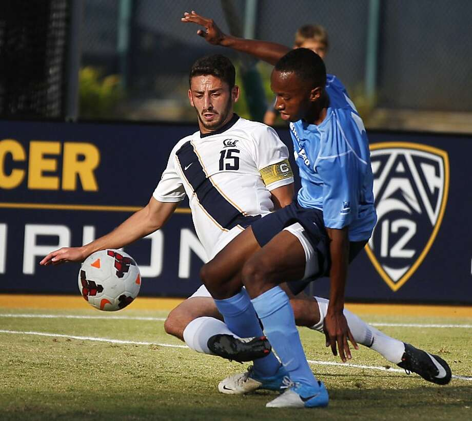 Steven Birnbaum (left), competing with San Diego's Blake Milton, was given a medical waiver to return as a fifth-year senior this season. He's taking only one class needed to graduate, leaving plenty of time to work on, and enjoy, Cal's soccer success. Photo: Leah Millis, The Chronicle