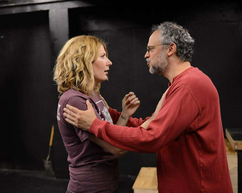 "Christina Casella and David Davalos rehearse a scene from ""Wittenberg."" Photo: Courtesy Sandra Trevino"