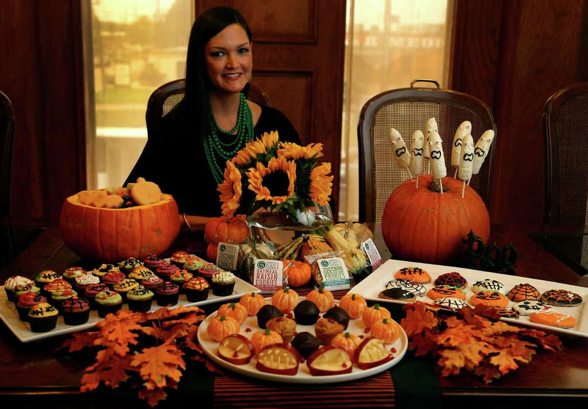 Lisa Pounds, CEO and founder of Green Plate Foods with her display of Halloween treats for parents who want to serve healthy treats to their own kids and trick or treaters, Tuesday, Oct. 22, 2013, in Houston. ( Karen Warren / Houston Chronicle )